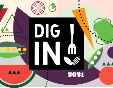 The words dig in! in white in a black square surrounded by stylized drawings of fruits and vegetables